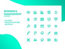 Affärs- och ledningsymbolsuppsättning royaltyfri illustrationer