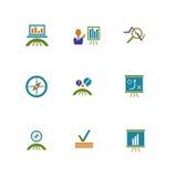 Affärs- och marknadsföringssymboler arkivfoto