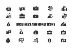 Affärs- och pengarsymbolssamling royaltyfri illustrationer