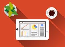 Affärs- och statistikillustrationlägenheten planlägger med lång skugga Övervakningaffär och statistikbegreppsillustration på gad Arkivbilder