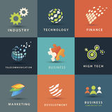 Affärs- och teknologisymbolsuppsättning Royaltyfri Foto
