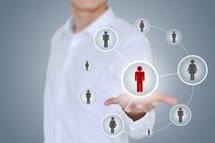 Affärs-, teknologi-, internet-, nätverkande- och rekryteringbegrepp Arkivfoto