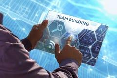 Affärs-, teknologi-, internet- och nätverksbegrepp Ung busi Arkivbild