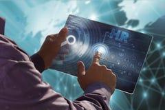 Affärs-, teknologi-, internet- och nätverksbegrepp Ung busin Fotografering för Bildbyråer