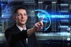 Affärs-, teknologi-, internet- och nätverksbegrepp Ung busine royaltyfria bilder