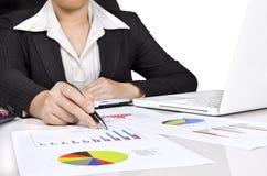 affärsaffärskvinnadiagram Arkivfoton