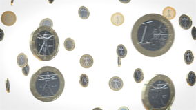 Affärsanimering av euromynt på vit bakgrund stock video