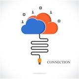 Affärsanslutning och molnteknologiberäkning Affär och Arkivfoto