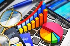 Affärsarbete och begrepp för finansiell analys Arkivfoto