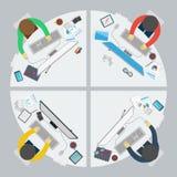 Affärsarbetskontor på plan stil Arkivfoton