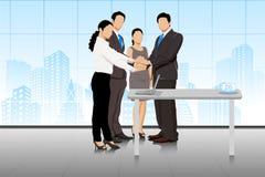 Affärsavtal med businesspeople royaltyfri illustrationer