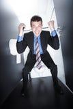 Affärsavtal på toalett royaltyfria bilder