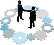 affärsavtalet gears folkteknologi royaltyfri illustrationer