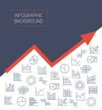 Affärsbakgrund med diagramsymboler i tunna linjer Arkivfoton