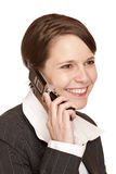 affärsbeställaren talar telefonen till kvinnan Arkivfoto