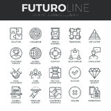 AffärsbeståndsdelFuturo linje symbolsuppsättning stock illustrationer