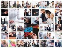 Affärscollage med plats av affärspersonen på arbete royaltyfri foto