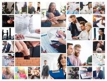 Affärscollage med plats av affärspersonen på arbete royaltyfria bilder