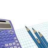 Affärscollage. Räknemaskin, papper och blyertspennor Arkivbild