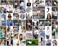 Affärscollage som göras av många olika bilder om finanser arkivbilder