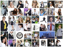 Affärscollage som göras av många olika bilder om finanser royaltyfria foton