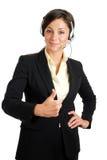 affärscommuncations som ger tum, up kvinnan arkivfoto