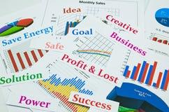 Affärsdiagram och grafer med ord skrivar ut ut Arkivbild