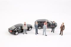 Affärsdiagram och leksakbil Arkivbilder