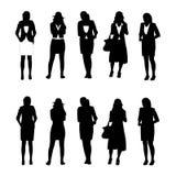 affärsdiagram silhouettekvinna Arkivbild
