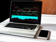 Affärsdiagrammet kartlägger med olika indikatorer som visas på bärbara datorn, telefon med kopieringsutrymme royaltyfri foto