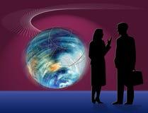 affärsdiskussionsvärld stock illustrationer