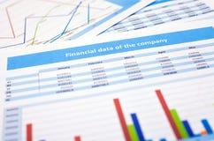 Affärsdokument finansdata Arkivbild