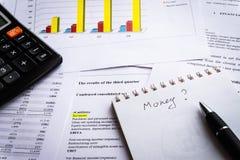 Affärsdokument Meddelande för finansiell inkomst och diagram och graf arkivbild