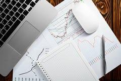 Affärsdokument på skrivbordet Beslutsfattande i affär tappning för stil för illustrationlilja röd Plan stil Arkivfoto