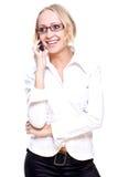 affärsexponeringsglas telephone kvinnan Fotografering för Bildbyråer