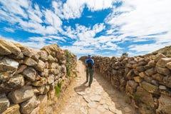 Affärsföretag på ön av solen, Titicaca sjö, Bolivia Royaltyfri Foto