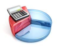 Affärsfinans, bankrörelsen och räknemaskin för kontor för redovisningsbegrepp med den färgrika pajgrafen vektor illustrationer