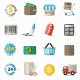 Affärsfinans- och shoppingsymboler Arkivbilder