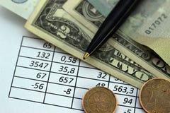 Affärsfinans som sparar planera kontobegrepp redovisning affärsberäkningar, räkna för kassa arkivfoton