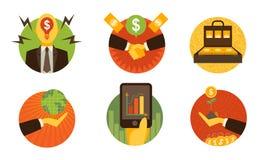 Affärsfinanssymboler på vit bakgrundsuppsättning 1 Vektorillustr arkivbilder