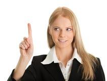 affärsfinger henne skärm som trycker på kvinnan Royaltyfria Bilder