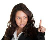 affärsfinger henne skärm som trycker på kvinnan Arkivfoton