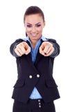 affärsfingrar henne som pekar kvinnan Royaltyfri Foto