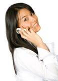 affärsflickatelefon Royaltyfri Bild