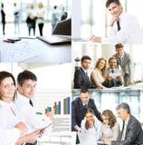 Affärsfolk i de olika lägena av utbildning, presentationer, förhandlingar och gemensamt arbete, ett collagefoto Fotografering för Bildbyråer