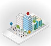 Affärsfolk i gatan av en isometrisk stad över den smarta telefonen Royaltyfri Fotografi