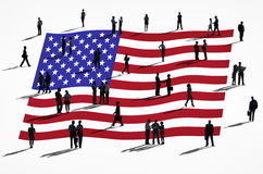 Affärsfolk med amerikanska flaggan Royaltyfria Bilder