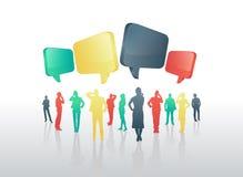 Affärsfolk med anförandebubblor Royaltyfri Bild