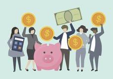 Affärsfolk och bankirer med pengarillustrationen royaltyfri illustrationer