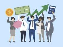 Affärsfolk och bankirer med pengarillustrationen stock illustrationer